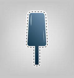 Ice cream sign blue icon with outline for vector