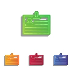 Id card sign colorfull applique icons set vector