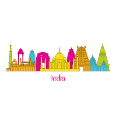 India architecture landmarks skyline line style vector