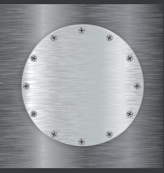 Metal round plate with screw head vector