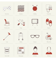 Pensioners life icons flat line vector