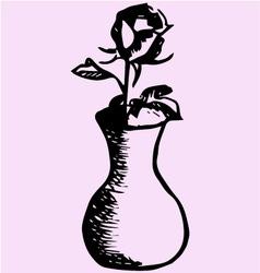 Rose vase vector