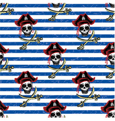 Seamless pattern pirates hand drawing vector