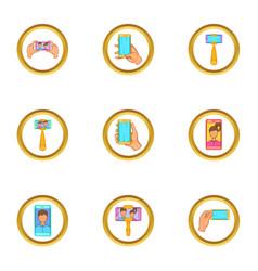 Selfie stick icons set cartoon style vector