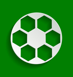 Soccer ball sign paper whitish icon with vector