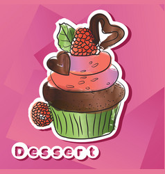 sticker with dark chocolat cake vector image vector image