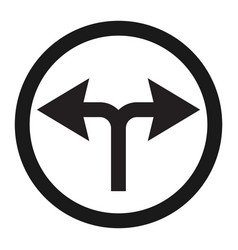 Turn left or right traffic sign line icon vector