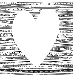 White heart on ethnic pattern background for your vector