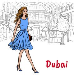 Woman in shopping mall in dubai vector