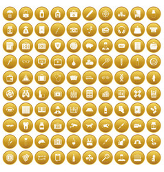 100 case icons set gold vector