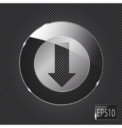 Glass download button icon on metal background vector