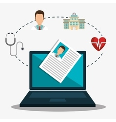 Medicine icon and laptop computer vector
