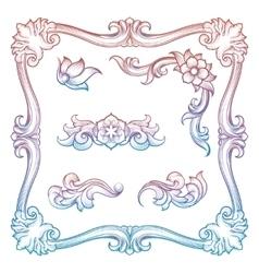 Vintage frame and decorative elements vector image