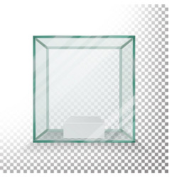empty transparent glass box cube  realistic vector image