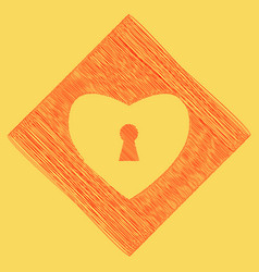 Heart with lock sign  red scribble icon vector