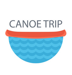 Red canoe on the river concept idea for camping vector