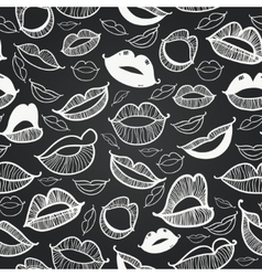 Chalkboard seamless hot lips vector