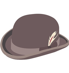 Brown bowler hat with feather vector
