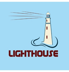 Lighthouse on abstract sea background vector