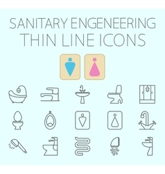 Sanitary engineering flat icon set vector