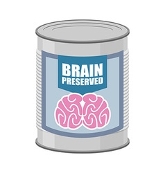 Canned brains tin with brain food for mind vector