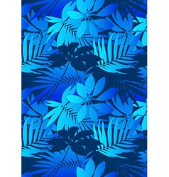 Mid and light blue tropical leaves in repeat vector