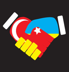 Symbol sign handshake turkey and ukraine vector