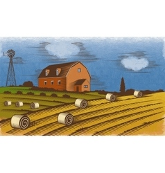 Farm landscape engraved color vector