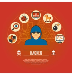 Hacker concept icons vector