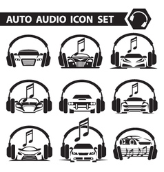 Car radio icons set vector
