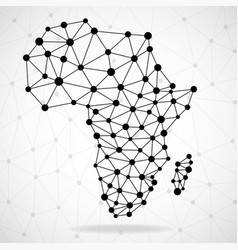 abstract polygonal africa map with dots and lines vector image