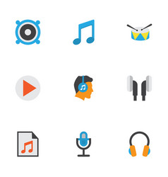 Audio flat icons set collection of karaoke media vector