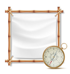 Bamboo frame and metal compass summer vector