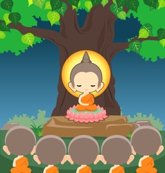 Buddha sitting on lotus flower under bodhi tree vector