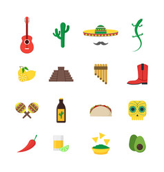 Cartoon mexican culture color icons set vector