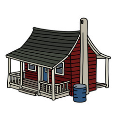 classic red scandinavian planked house vector image vector image