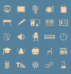 Classroom color icons on blue background vector