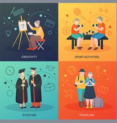 Elderly people activities design concept vector