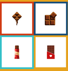 Flat icon sweet set of sweet chocolate delicious vector