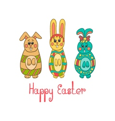 Greeting card with easter bunny-2 vector