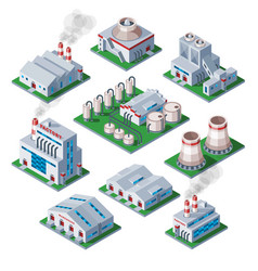 isometric 3d factory building industrial element vector image