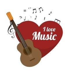Love music with guitar isolated icon design vector