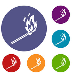 Match flame icons set vector