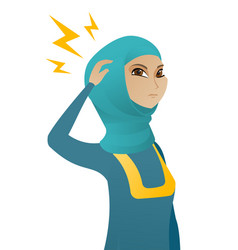Muslim business woman with lightning over head vector