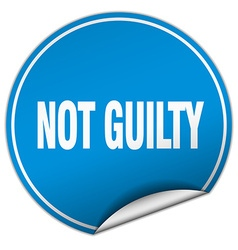 Not guilty round blue sticker isolated on white vector