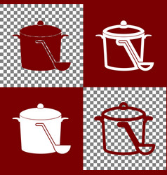 Pan with steam sign bordo and white icons vector