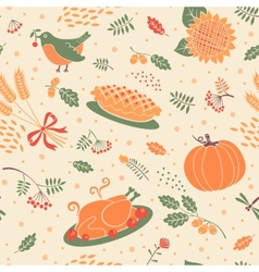 seamless pattern with pumpkin leaves and wheat vector image vector image