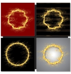 Set of Abstract round golden frame with sparkles vector image