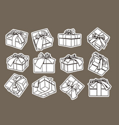 set of sketch gift box presents hand drawn vector image