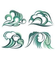 Set waves vector image vector image